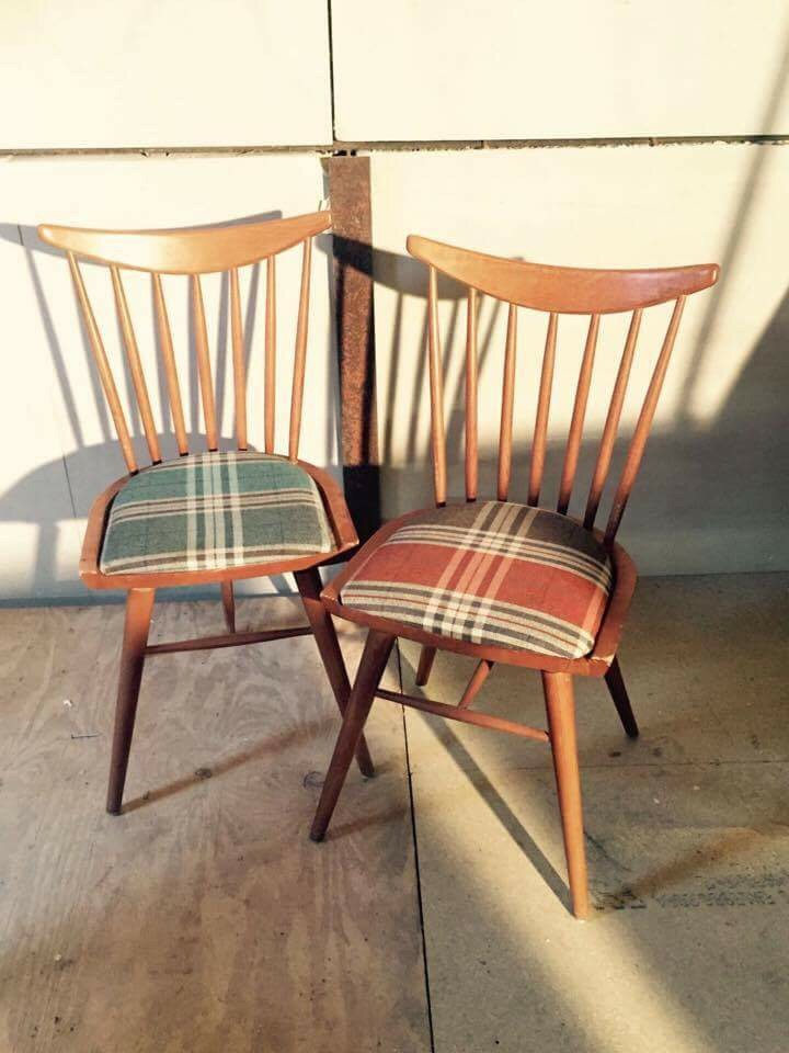 details about danish style dining chair mixed tartan fabric pub