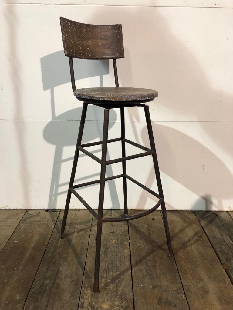 Strange Single High Stool Distressed Metal Wood Dailytribune Chair Design For Home Dailytribuneorg